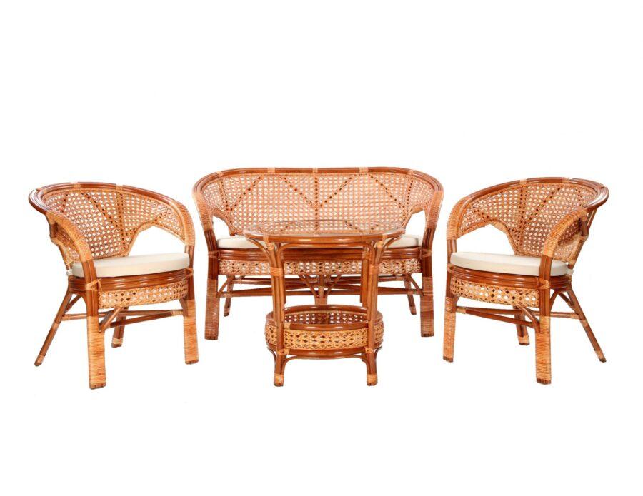 Komplet wypoczynkowy tarasowy rattanowy stolik + 2 fotele + sofa + poduszki koniak